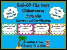 End of the Year Awards FREEBIE and a blog hop!