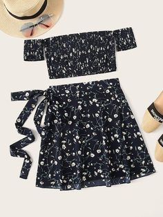 Shop Ditsy Floral Shirred Off Shoulder Top With Self Tie Skirt at ROMWE, discover more fashion styles online. Pretty Outfits, Pretty Dresses, Cute Outfits, Crop Top Outfits, Summer Outfits, Two Piece Outfit, Two Piece Skirt Set, Suits For Women, Clothes For Women
