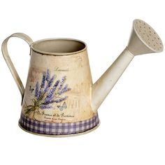 Distressed Shabby Chic Vintage Lavender Tin ware Metal Watering Can