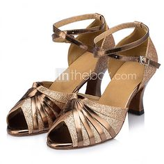 Customizable Women's Dance Shoes Leather Leather Latin Heels Stiletto Heel Indoor Silver / Gold - USD $34.99