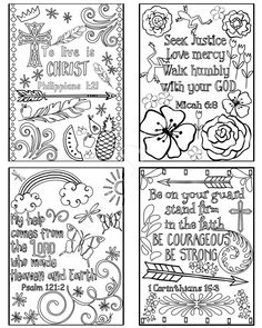Coloring Scripture Cards Set Of 8 Instant Download Printable Christian Pages PDF Diy Digital Art Bible Verse Memory