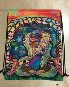 Perfect Shoulder Bag for the gym, school, etc. Meditating Rafiki Draw String Shoulder Bag... Pin it on your wall or fill it with special treasures & trinkets to carry around easily on your back. Lovel
