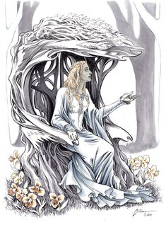 "Galadriel is described as having been ""blessed with the ability to peer into the minds of others and she judged them so fairly. But in Fëanor, she only sees darkness"".[3] As one of the members of the royal house of Finwë and having the blood of the Vanyar from her paternal grandmother, Indis, she was often called the fairest of all Elves, either in Aman or Middle-earth."