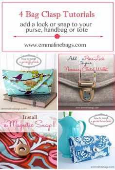 Home Sewing Patterns Handbag Supplies Free Tutorials Website Contact Me Newsletter NOVEMBER 19, 2013 4 Bag Clasp Tutorials:: Learn how to add a purse lock or snap to your purse, tote or handbag. Here is a compilation of some of my most popular bag lock tutorials. Learn how to add Press Locks, Flip Locks, Turn locks and Magnetic Snaps to your purse, tote, or bag. Really, they are very easy and fun to install, and also add that professional look to your project that just gives you that ...