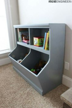 Cool storage for kids toys on http://rogueengineer.com/bookcase-with-toy-storage-diy-plans/?m#disqus_thread