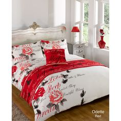 Floral Bed in a Bag. One duvet cover and two pillowcases. Size: Double. Material: 100% polyester. Odette Red.