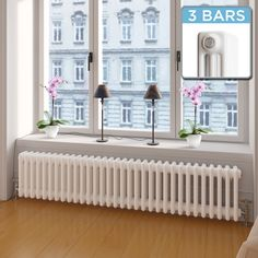 Roma Horizontal Triple Column Traditional Gas Radiator in White 300mm x 1440mm
