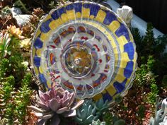 Drought Resistant Plate Flowers.                  Garden Yard Art glass and ceramic plate flower