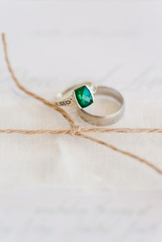 Emerald engagement ring: http://www.stylemepretty.com/australia-weddings/2014/10/23/rustic-beach-inspired-shoot-at-adelaide-beach-front/ | Photography: Katelyn James - http://katelynjamesblog.com/
