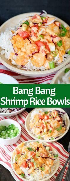 Bang Bang Shrimp Rice Bowls are easy and delicious! With the signature Bonefish . - Bang Bang Shrimp Rice Bowls are easy and delicious! With the signature Bonefish Grill Bang Bang sau - Fish Recipes, Seafood Recipes, Asian Recipes, Cooking Recipes, Healthy Recipes, Shrimp And Rice Recipes, Bonefish Grill Recipes, Recipies, Easy Tasty Meals