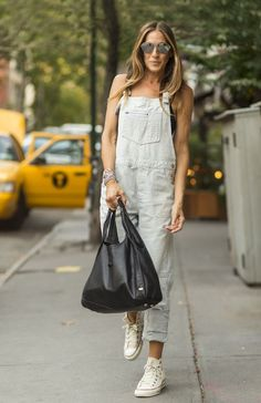 Sarah Jessica Parker looking totally stylish in grey denim.