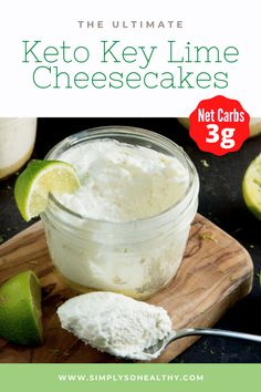 This recipe for Keto Key Lime Cheesecakes is a super easy low carb spin-off of the traditional key lime pie. This kid-friendly low-carb recipe includes a simple keto cheesecake crust and is filled with a heavenly and tangy key lime mousse. This recipe is suitable for those following #low-carb, #Keto, #Atkins, #Banting, and #gluten-free diets. Cheesecake Calories, Cheesecake Crust, Key Lime Cheesecake, Low Carb Cheesecake, Sugar Free Treats, Sugar Free Desserts, Low Carb Dinner Recipes, High Protein Recipes, Low Carb Sweets
