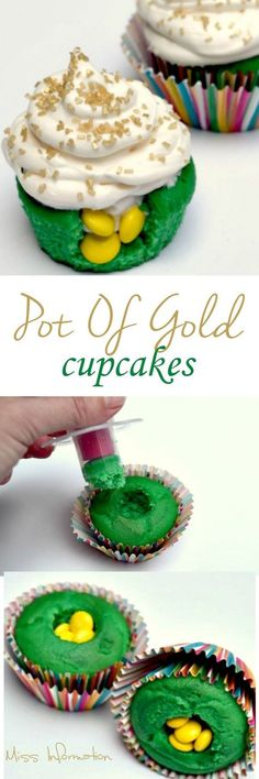 "These Pot of Gold Cupcakes have mini sweet ""golden surprises"" inside!"