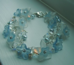 Baby Blue Lucite Flowers Bracelet - Lucite Flowers, Crystals and Pearls with Sterling Silver - Bridal Jewerly - Something Blue. $55.00, via Etsy.