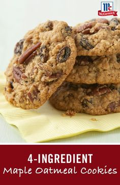 Four-ingredient cookie recipe: Enhance an oatmeal cookie mix with McCormick Maple Extract, pecans and raisins. This easy cookie recipe will be perfect for this year's Christmas cookie exchange. Sweet Desserts, No Bake Desserts, Delicious Desserts, Dessert Recipes, Probiotic Foods, Oatmeal Cookies, Granola Cookies, Easy Cookie Recipes, Cookies Ingredients