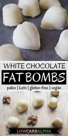 Low Carb Coconut White Chocolate Fat Bombs Dairy-free white chocolate and coconut recipe using organic cacao butter and vegan coconut milk powder. High fat, low carb and easy to fit into a keto diet. Coconut Recipes, Dairy Free Recipes, Low Carb Recipes, Gluten Free, Healthy Recipes, Chocolate Fat Bombs, Chocolate Recipes, Chocolate Cheesecake, Fat Bombs Low Carb