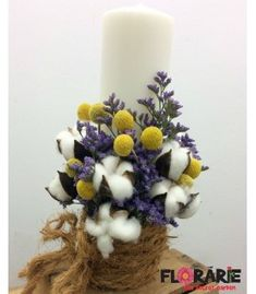 Lumanare botez rustica bumbac si craspedia Diy Flowers, Flower Diy, Terraria, Hanukkah, Flower Arrangements, Projects To Try, Baby Shower, Wreaths, Table Decorations