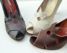Remix Vintage Shoes, Myrna Peep Toe Heel in Grey/Black, Ivory/Taupe, Chocolate Brown/Taupe Leather