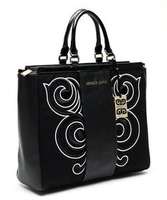 Look what I found on #zulily! Black & White Swirl Leather Tote by Versace Jeans Collection #zulilyfinds