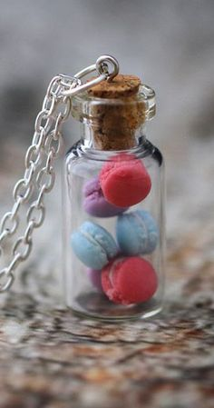 Miniature MACARON vial necklace. Berry Pastels - Blue, Pink, Purple macaroons. Miniature food jewelry