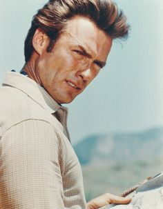 Clint Eastwood on the set of Rawhide.