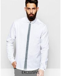 Reclaimed (vintage) Smart Shirt With Contrast Placket in White for Men | Lyst