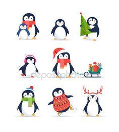 Милые пингвины set - поздравления с Рождеством — стоковый вектор