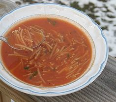 Fideo Soup - I was introduced to this in a hole in a wall cafe. They used tomatillos in lieu of red tomatoes. It was soooo tasty! Very simple, just a broth and noodles but it's killer. I made it and it's staying in my recipe book.