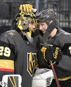 LAS VEGAS, NEVADA - OCTOBER Marc-Andre Fleury and Shea Theodore of the Vegas Golden Knights celebrate on the ice after the team's victory over the Buffalo Sabres at T-Mobile Arena on October 2018 in Las Vegas, Nevada. (Photo by Ethan Miller/Getty Images) Golden Knights Hockey, Vegas Golden Knights, Marc Andre, Hockey Season, Nhl Games, Buffalo Sabres, Field Hockey, Hockey Players, Misfits