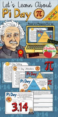 Students read two passages about the history and celebrations related to Pi Day, and respond on the corresponding slides. This resource can be printed or shared digitally. Pie Day Activities, History Activities, Middle School Teachers, Middle School Science, Pi Day Facts, Real Life Math, Pi Symbol, Math Charts, Happy Pi Day