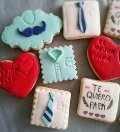Galletas dia del padre Man Cookies, Iced Cookies, Royal Icing Cookies, Yummy Cookies, Cupcake Cookies, Sugar Cookies, Fathers Day Cupcakes, Fathers Day Cake, Fathers Day Crafts