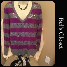 Beautiful sequence sweater Very pretty sweater with silver sequences. New York & Company Sweaters V-Necks