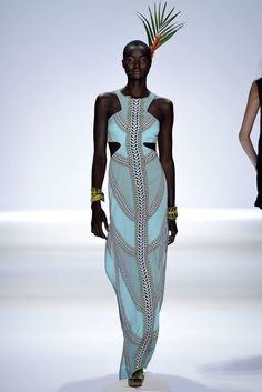 seafoam blue racer front gown with pattern - mara hoffman - spring 2013 rtw #nyfw