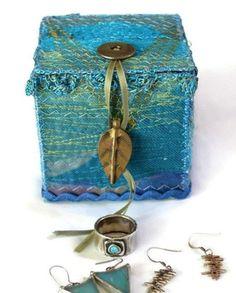 Photo Detail.  EMBROIDERED TEXTILE BOX  -Jewelry Box - Gift Box - Blue - Fibre Art - Decorative Art
