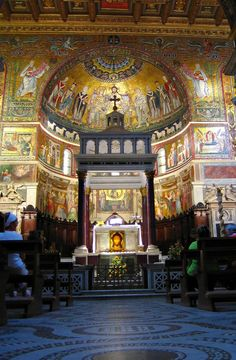 Santa Maria in Trastevere.is one of Rome's oldest churches and believed to be the first church in Rome dedicated to the Virgen Mary. It originally dates from the late third to early fourth century but was rebuilt in the twelfth century. The church is famous for a Byzantine mosaic behind the altar and a number of 13th century mosaics. The piazza has a beautiful octagonal fountain.