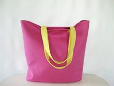 Linen Tote Bag in Pink and Yellow by StudioTAC