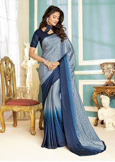 Grey Saree, Fancy Fabric Saree, Buy latest Saree with custom stitching and worldwide shipping. Grey Saree, Latest Sarees, Party Wear Sarees, Indian Sarees, Fabric Design, My Design, Sari, Fancy, Designer Sarees