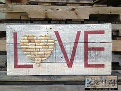 Wine Cork Heart Love Distressed Wood Sign 30 x 14 by ReUseItArt, $70.00