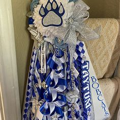 Mega homecoming mum single homecoming mums. Deluxe homecoming   Etsy Unique Homecoming Mums, 5 Braid, Ribbon Braids, Single Mum, Mesh Ribbon, Custom Ribbon, Small Boxes, Letters And Numbers, Colorful Pictures