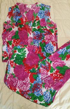 Vintage Victoria s Secret Semi-sheer Floral Pajama Set Top Bottoms MEDIUM EUC