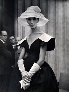 Elegant classic look ~ black and white fancy day dress with hat and 3/4 length white gloves (circa 1950's)