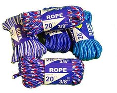 Rope 20ft 3/8 DIA Braided Solid Core Lightweight (Blue) Color: Blue, Model: 99020, Tools & Hardware store. Polypropylene and mixed synthetic core. Lightweight and flexable, easy to knot. Economical and versatile, Rot and mildew resistant, U.V. stabilized. Multi color for high visability. Great for miscellaneous uses around the water and in all weather.