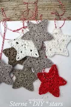 11 ✰ Sternchen-Anhänger * Diy * Crochet Some Stars - Page 2 of 31 - Free Crochet Patterns Diy Crochet And Knitting, Cute Crochet, Crochet Motif, Crochet Crafts, Crochet Projects, Diy Crafts, Crochet Ideas, Crochet Christmas Decorations, Holiday Crochet