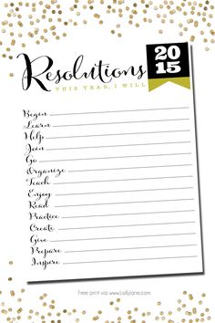 2015 resolutions free printable - Lolly Jane