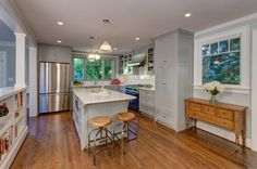 Walls BM Quiet Moments cabinets SW Gray Matters West Hills Traditional - traditional - Kitchen - Portland - The Works