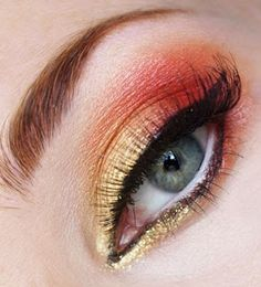 """""""Coral Gold"""" from Padmita's make up blog. Lots of great looks and tutorials on this site."""