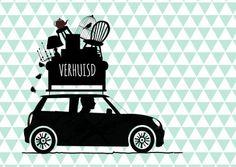 Grappige en hippe verhuiskaart auto met daar bovenop verhuisspullen, verkrijgbaar bij #kaartje2go voor €0,99