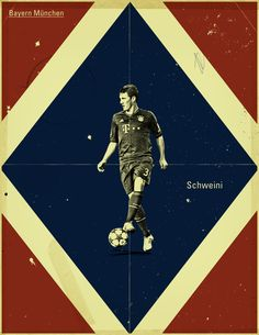 "Bastian Schweinsteiger (""Schweini""): Famous Footballers by Jon Rogers, via Behance  #soccer #poster"