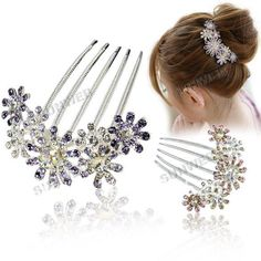 Fashion Women's Elegant Multiple Flower Pattern Rhinestone Tuck Comb Hair Pin Hair Clip free shipping 7713-in Hair Jewelry from Jewelry on Aliexpress.com