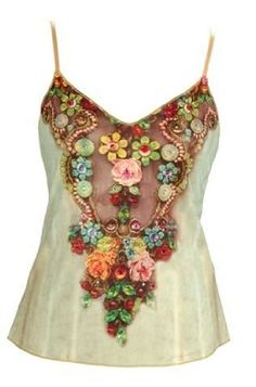 Off-White Tank Top Created by Michal Negrin with Swarovski Crystals Accented Victorian Floral Motif on Bodice, Gold Merrow Edge Finish and Adjustable Spaghetti Straps: Clothing Bd Fashion, Fashion Corner, Fashion Details, Womens Fashion, Fashion Goth, Michal Negrin, Gypsy Style, My Style, Hippie Style
